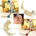Elegant Golden Plated Metal Crystal Glass Flower Wrap Cuff Clip on Left Earring