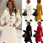Women Retro Charm Warm Cotton  Military Trench Belted Long Coat Jacket OD CA