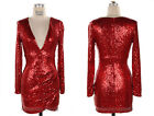 *RED SEQUIN V-NECK Long Sleeve DRESS Sexy Cocktail Low Cut XL 1X 2X 3X PLUS SIZE