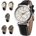 KS Imperial Day Date Leather Automatic Mechanical Army Sport Wrist Men Watch