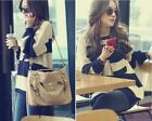 White Blue Striped Pullover Women's Knitwear Jumper Color Block Knitted Sweater