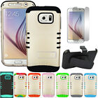 Gold Hybrid Rugged Armor Cover Case + Screen Belt Clip for Samsung Galaxy S6