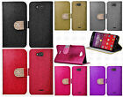 Kyocera Hydro Wave C6740 Diamante Glitter Leather Wallet Flip Phone Cover Case