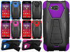 Kyocera Hydro Wave C6740 Turbo Layer HYBRID KICKSTAND Rubber Case +Screen Guard