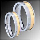 5 & 7mm Gold Two Tone Titanium Wedding Set Ring SZ 6-13