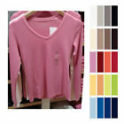 UNIQLO Women SUPIMA COTTON MODAL V Neck Long Sleeve T-Shirt Color NEW 151339