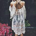 New Womens Sexy Lace Boho Evening Party Mini Dress Summer Beach Bikini Cover up