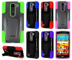For LG Volt 2 LS751 Advanced Layer HYBRID KICKSTAND Rubber Phone Case Cover