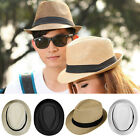Womens Mens Summer Beach Trilby Floppy Fedora Straw Wide Brim Beach Sun Hat