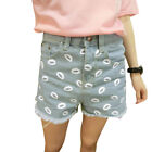 Women Slant Side Pockets Buttoned Lips Printting Demin Shorts