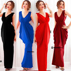 Double V-neck Sleeveless Tunic Maxi Formal Evening Gown Banquet Party Dress Long