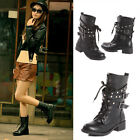 Womens Combat Military Boots Lace Up Buckle Women Fashion Knee High Martin Boots