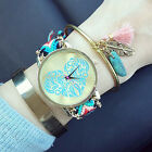 Women Unique Design Love Heart Golden Tone Dial Knitted Rope Band Wrist Watch