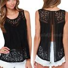 Women Summer Vest Top Sleeveless Blouse Casual Tank Tops T-Shirt Lace DJNG