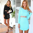 Hot Sexy Women Long Sleeve Back Zip Bodycon Stretch Evening Party Cocktail Dress
