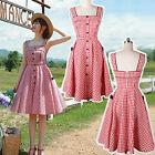 Vintage 50's Rockabilly Classic Check Wedding Evening Cocktail Swing Vest Dress