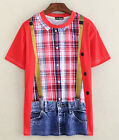 Cowboy Plaid Multicolor T-shirt 3D Funny Fashion Short Sleeve Women Men T-Shirt