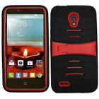 For Alcatel OneTouch Conquest HYBRID Hard Gel Rubber KICKSTAND Protector Case