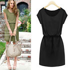 Fashion Women's Cap Sleeve Stretch Casual Drawstring Waist Loose OL Shirt Dress