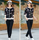 new sweater female floral casual sportswear jooging suits set women S M L XL 2XL