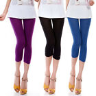Women 3/4 Length Cotton Slim Casual Black Leggings Skinny Stretchy Pencil Pants