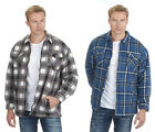 Mens / Adults Magneto Fleece Lined Zip-Up Check Pattern Shirt - Blue or Grey