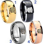 Tungsten Transformers Autobot 8MM Dome Gold IP Black Silver Rose Men's Ring