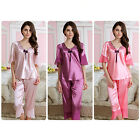 MASALING Lady Sleepwear Short Sleeve V Neck Smooth Silk Pajamas Homewear Set