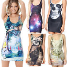 Lastest Women Dress Stretchy Colorful Galaxy Printed One Piece Mini Top Sundress