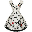 Womens New White Floral 1950s Retro Vintage Party Swing Dress