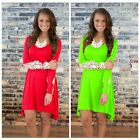 Fashion Women Sheer Sleeve Embroidery Lace Crochet Solid Color Irregular Dress