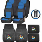 Synthetic Leather Seat Covers Set MLB Miami Marlins Rubber Mat Universal on Ebay