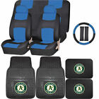 Synthetic Leather Seat Covers Set MLB Oakland Athletics Rubber Mat Universal on Ebay