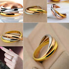 Women's Ring Golden Silver Tone Rose-gold Stainless Steel 3 Slim Band Divine