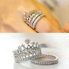 Women's Crown Statement Ring 2 Band Stack Rhinestone Alloy Jewelry Gift Inviting