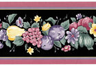 Black Fruit Kitchen Country Violet Burgundy Rose Vtg Pear Wallpaper Wall Border