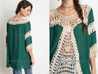 GREEN 12 CROCHET FRONT TUNIC Top Loose 3/4 Sleeve Bohemian Boho Shirt NEW S M L