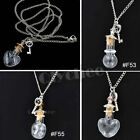Clear Wishing Bottle Mini Glass Vial Key Charm Pendant Necklace Lucky Jewelry