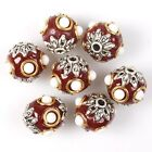12/60pcs Wholesale Charms White Dots Golden Rings Craved Lotus Spacer Beads Hot