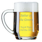 Personalised 1 Pint Beer Lager Glass Tankard Engraved Father of Groom Wedding