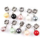 New Colorful Faux Pearl Pendants Flower Round Alloy Beads Fit European Bracelets