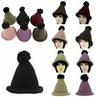 New Womens Knitted Beanie Hat Warm Round Winter Cable Fitted Pompom Witch Cap