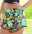 Floral Loose Tassel Bohemian National Style Shorts Casual Summer Beach Pants