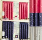 MOON & STARS METALLIC TAPE TOP THERMAL SEMI BLOCKOUT CURTAINS CHILDREN KIDS