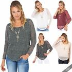Womens 2 in 1 Fishnet Knit Loose Batwing Jumper Top Sweater Vest Pearl Necklace