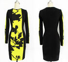 Vogue Womens Celebrity Style Floral Long Sleeve Ladies Bodycon Party Tunic Dress