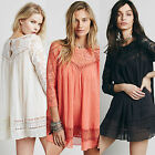 Boho Women's Tunic Breezy Top Embroidered Shirt Floral Lace Summer Lounge Blouse