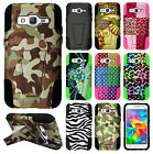 For Samsung Galaxy Prevail LTE HYBRID KICK STAND Rubber Case Cover +Screen Guard