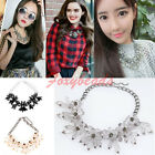 Elegant Women Crystal Flowers Choker Chunky Statement Bib Necklace Party Gift
