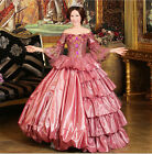 Court Organza layer Lace Victorian Trumpet Sleeves Embroidery Costume Prom dress